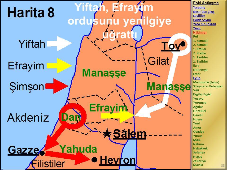 Yiftah, Efrayim ordusunu yenilgiye uğrattı Eski Antlaşma Yaratılış Mısır'dan Çıkış Levililer Çölde Sayım Yasa'nın Tekrarı Yeşu Hâkimler Rut 1.