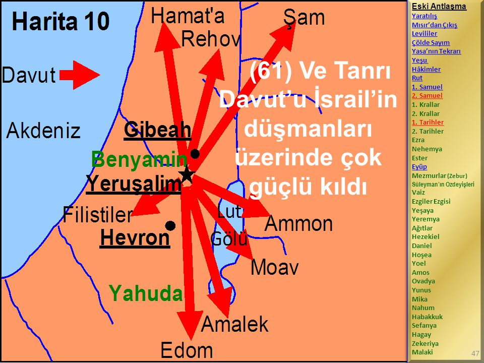 (61) Ve Tanrı Davut'u İsrail'in düşmanları üzerinde çok güçlü kıldı Eski Antlaşma Yaratılış Mısır'dan Çıkış Levililer Çölde Sayım Yasa'nın Tekrarı Yeşu Hâkimler Rut 1.