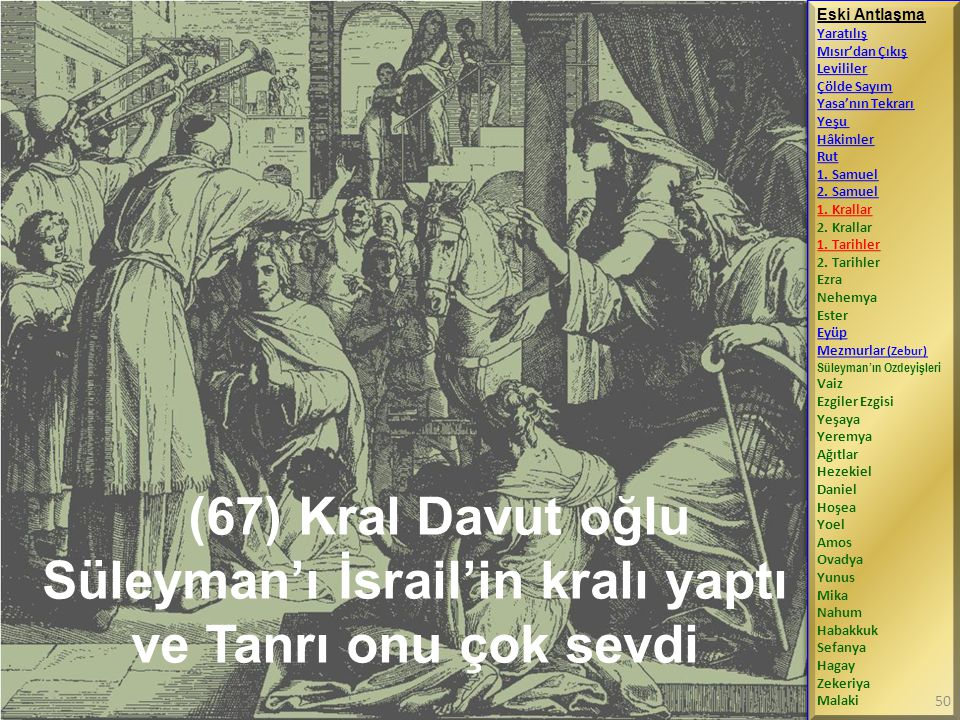 (67) Kral Davut oğlu Süleyman'ı İsrail'in kralı yaptı ve Tanrı onu çok sevdi Eski Antlaşma Yaratılış Mısır'dan Çıkış Levililer Çölde Sayım Yasa'nın Tekrarı Yeşu Hâkimler Rut 1.