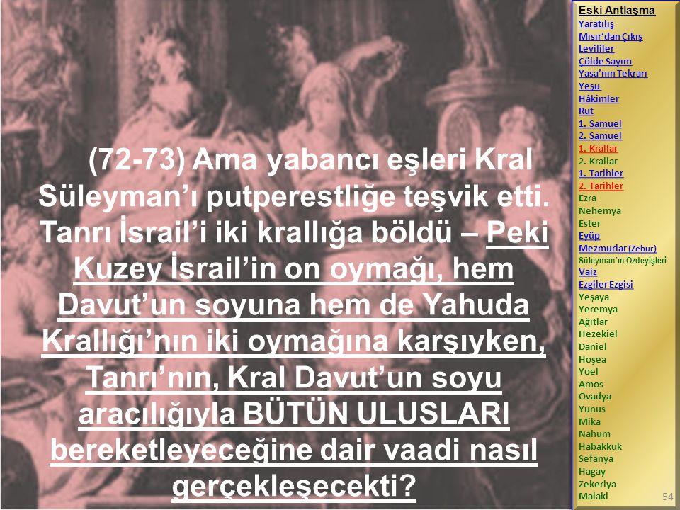 (72-73) Ama yabancı eşleri Kral Süleyman'ı putperestliğe teşvik etti.