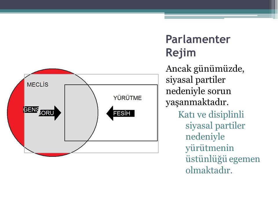 Parlamenter Rejim Ancak günümüzde, siyasal partiler nedeniyle sorun yaşanmaktadır.