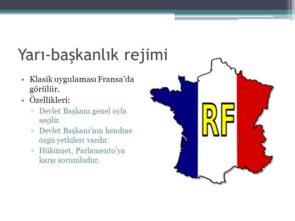 Yarı-başkanlık rejimi Klasik uygulaması Fransa'da görülür.