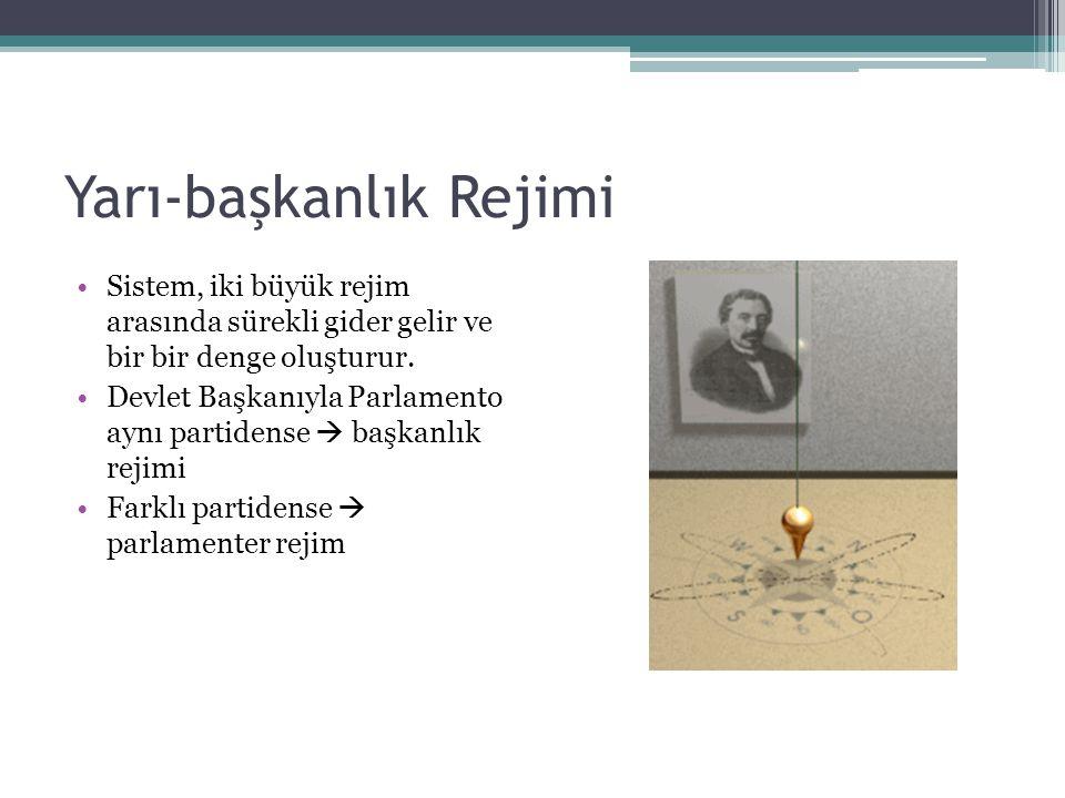 Yarı-başkanlık Rejimi Sistem, iki büyük rejim arasında sürekli gider gelir ve bir bir denge oluşturur.