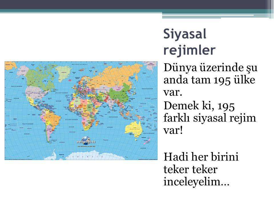 Siyasal rejimler Dünya üzerinde şu anda tam 195 ülke var.