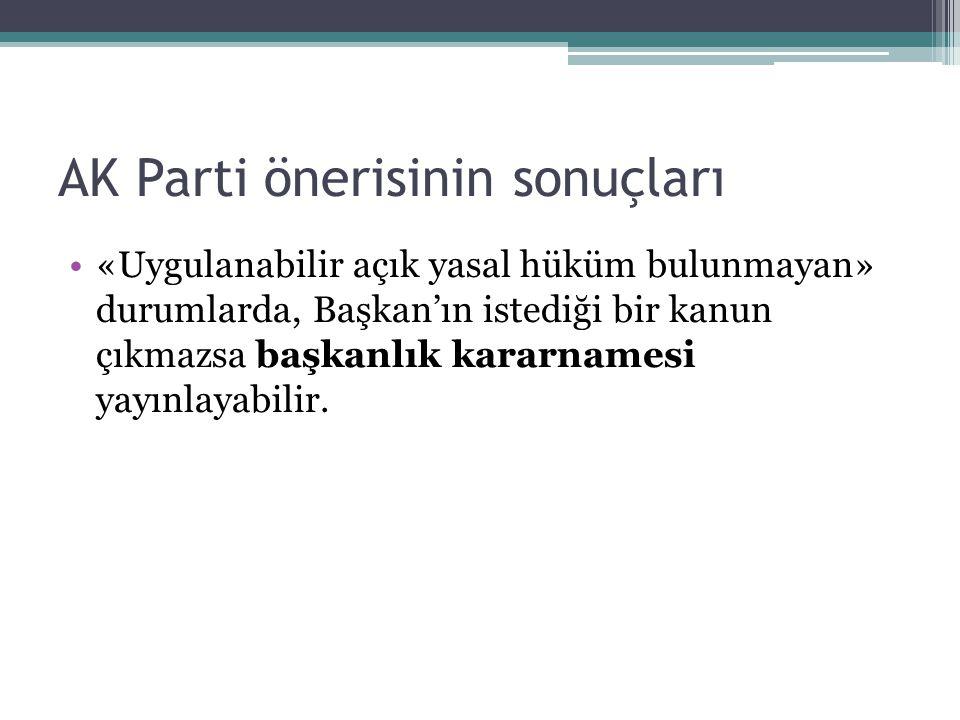 AK Parti önerisinin sonuçları «Uygulanabilir açık yasal hüküm bulunmayan» durumlarda, Başkan'ın istediği bir kanun çıkmazsa başkanlık kararnamesi yayınlayabilir.