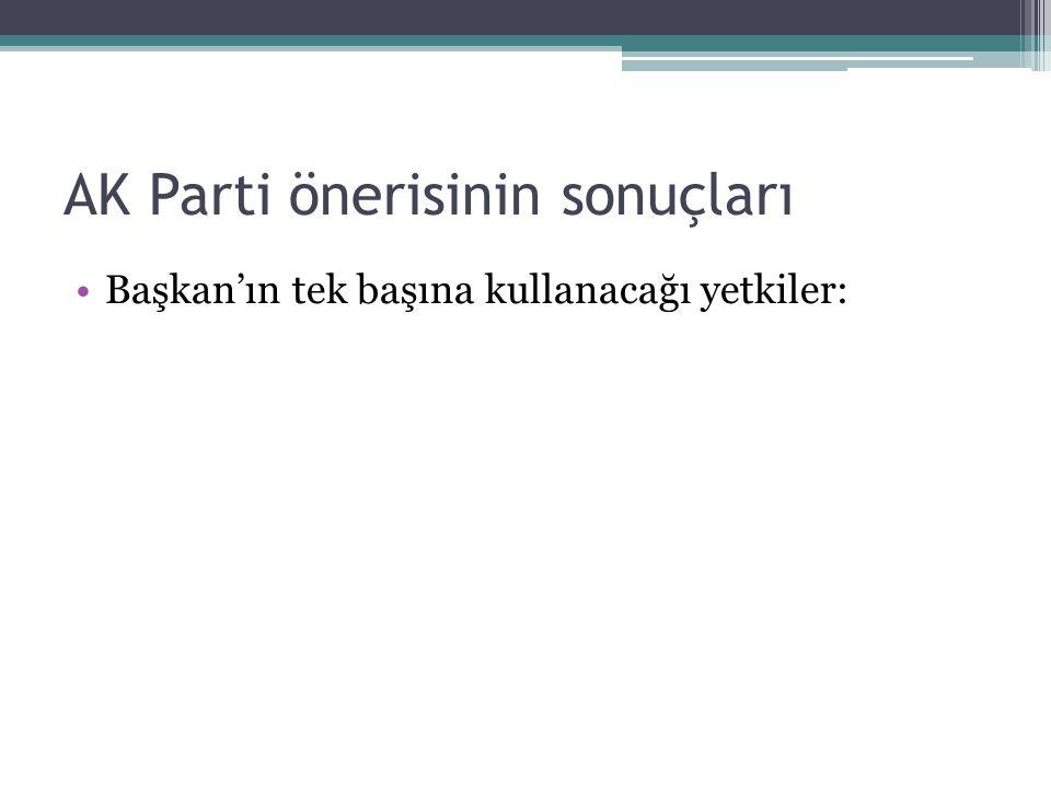 AK Parti önerisinin sonuçları Başkan'ın tek başına kullanacağı yetkiler: