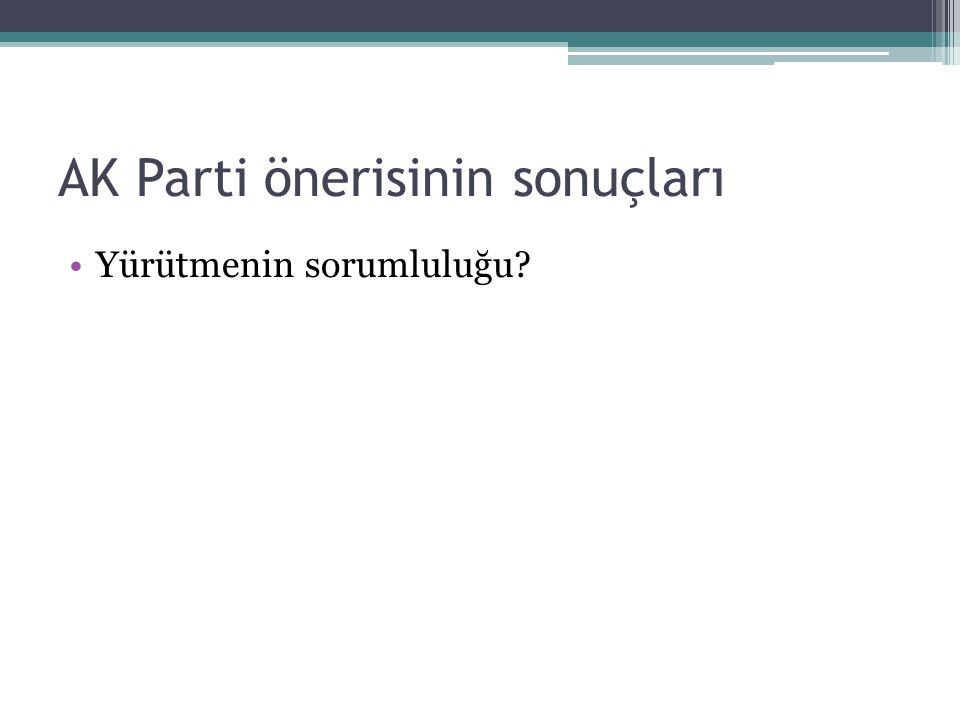 AK Parti önerisinin sonuçları Yürütmenin sorumluluğu