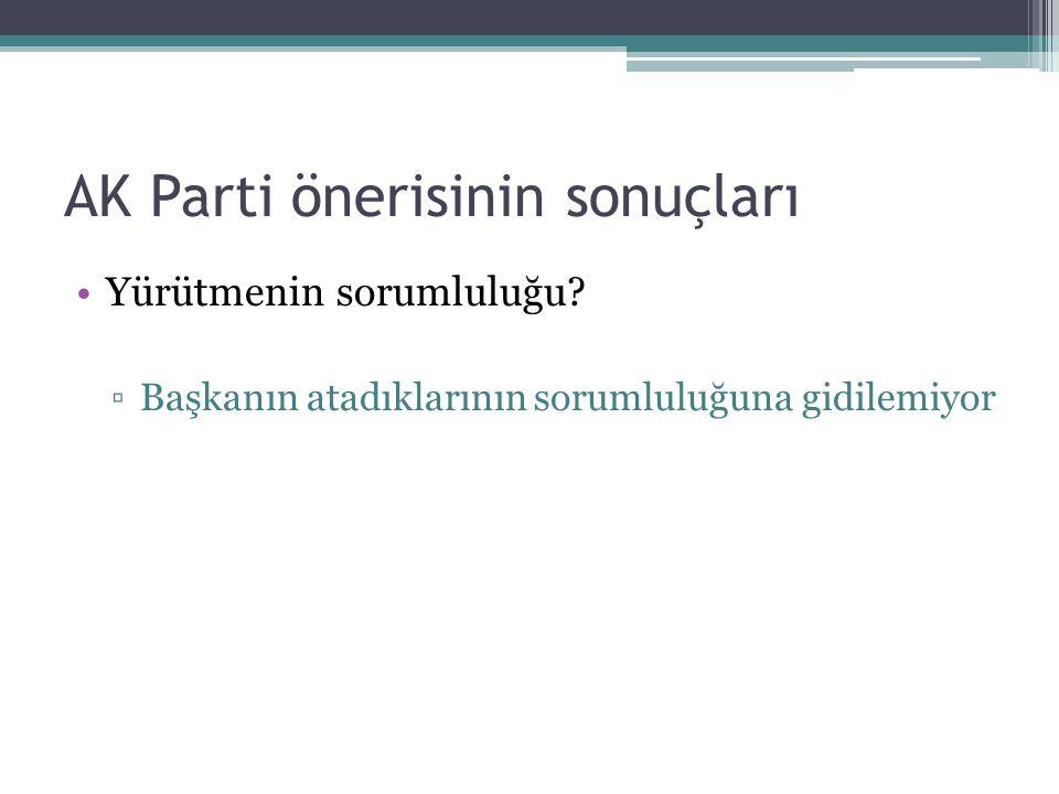 AK Parti önerisinin sonuçları Yürütmenin sorumluluğu.