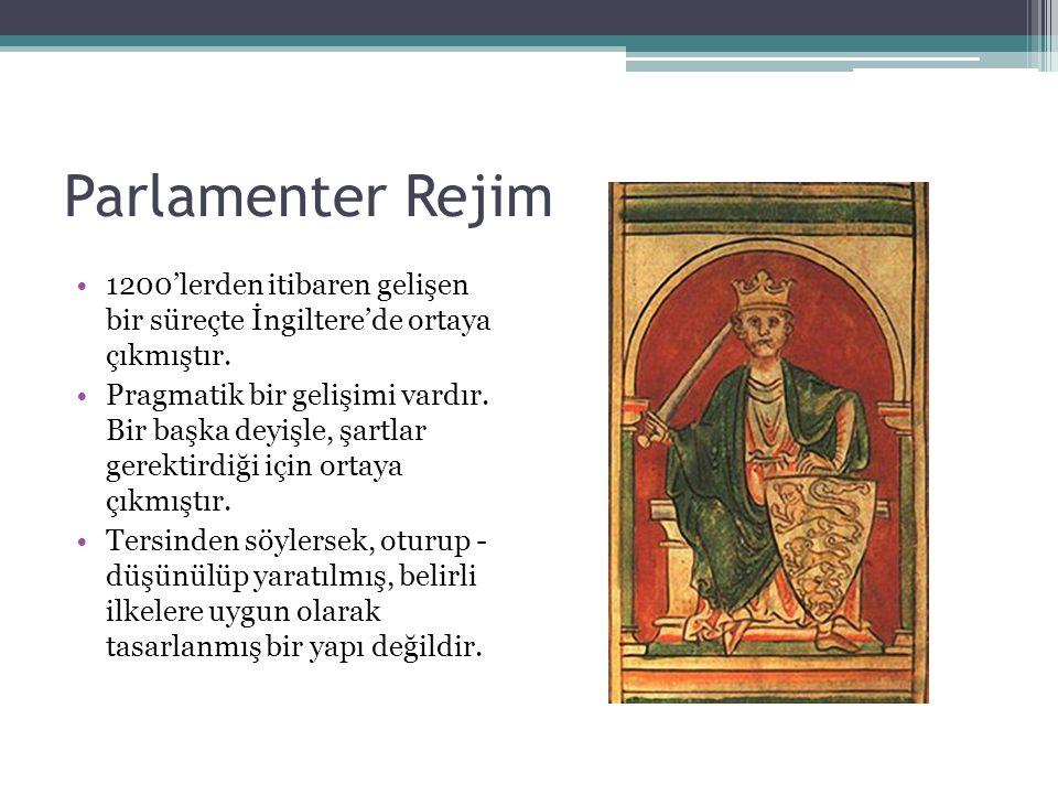 Parlamenter Rejim 1200'lerden itibaren gelişen bir süreçte İngiltere'de ortaya çıkmıştır.