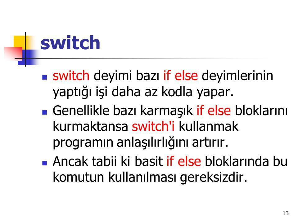 switch switch deyimi bazı if else deyimlerinin yaptığı işi daha az kodla yapar. Genellikle bazı karmaşık if else bloklarını kurmaktansa switch'i kulla