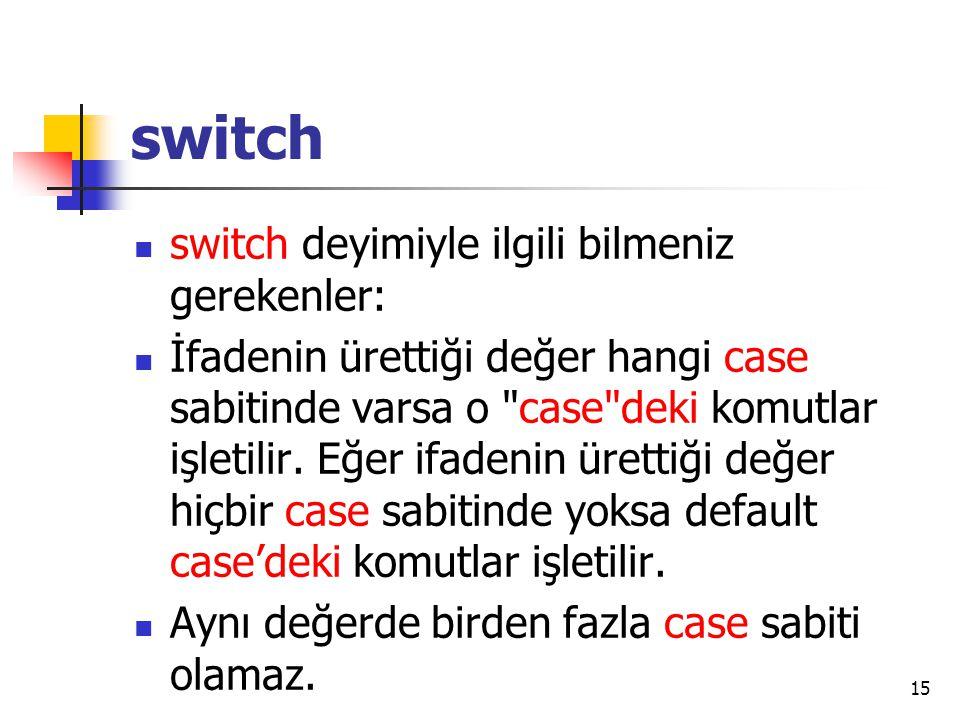 switch switch deyimiyle ilgili bilmeniz gerekenler: İfadenin ürettiği değer hangi case sabitinde varsa o