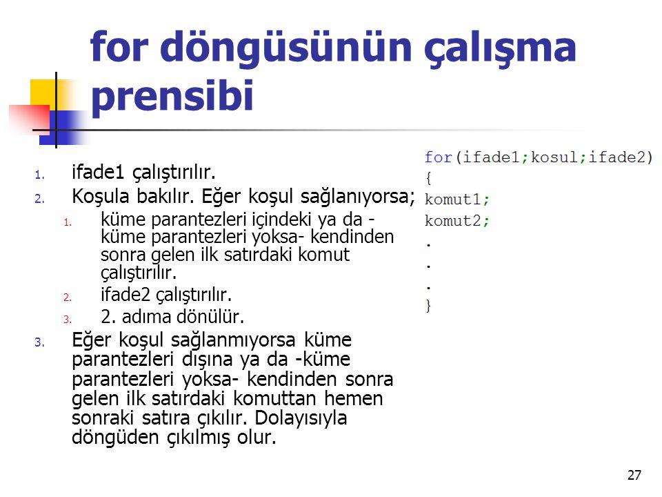 for döngüsünün çalışma prensibi 1. ifade1 çalıştırılır. 2. Koşula bakılır. Eğer koşul sağlanıyorsa; 1. küme parantezleri içindeki ya da - küme parante