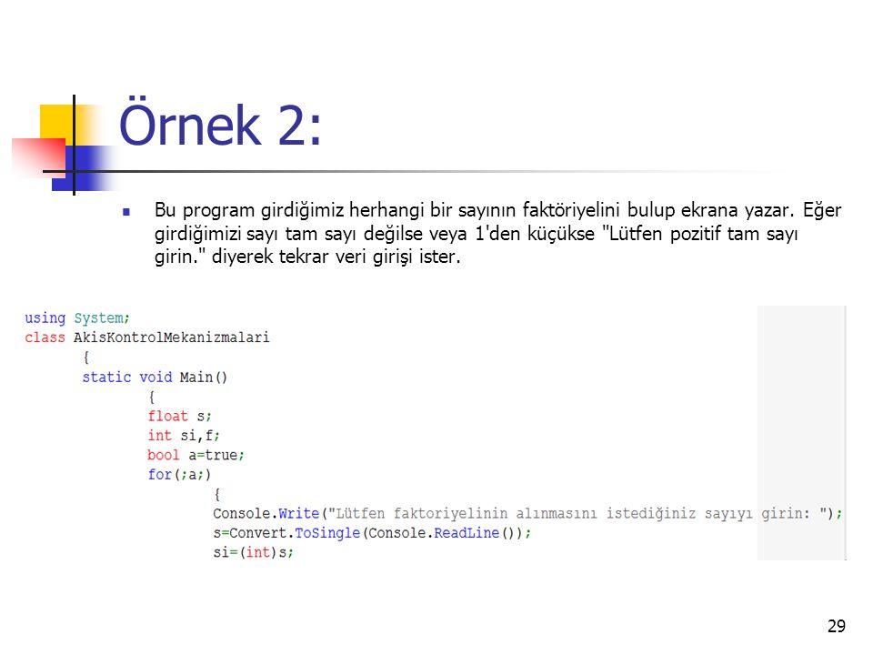Örnek 2: Bu program girdiğimiz herhangi bir sayının faktöriyelini bulup ekrana yazar. Eğer girdiğimizi sayı tam sayı değilse veya 1'den küçükse