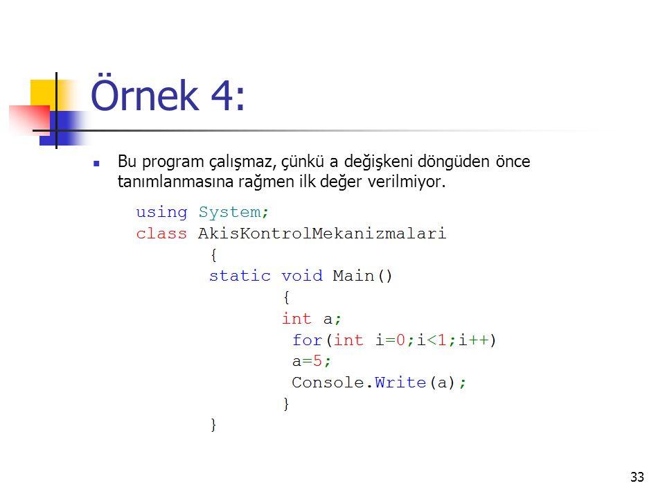 Örnek 4: Bu program çalışmaz, çünkü a değişkeni döngüden önce tanımlanmasına rağmen ilk değer verilmiyor. 33