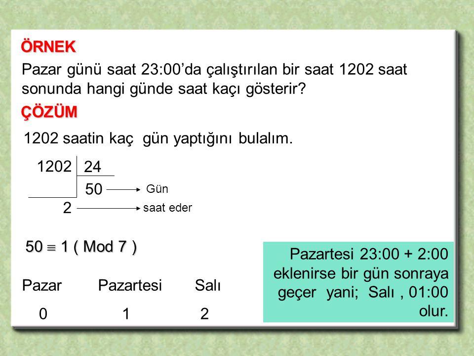 ÖRNEK ÇÖZÜM Pazar günü saat 23:00'da çalıştırılan bir saat 1202 saat sonunda hangi günde saat kaçı gösterir.