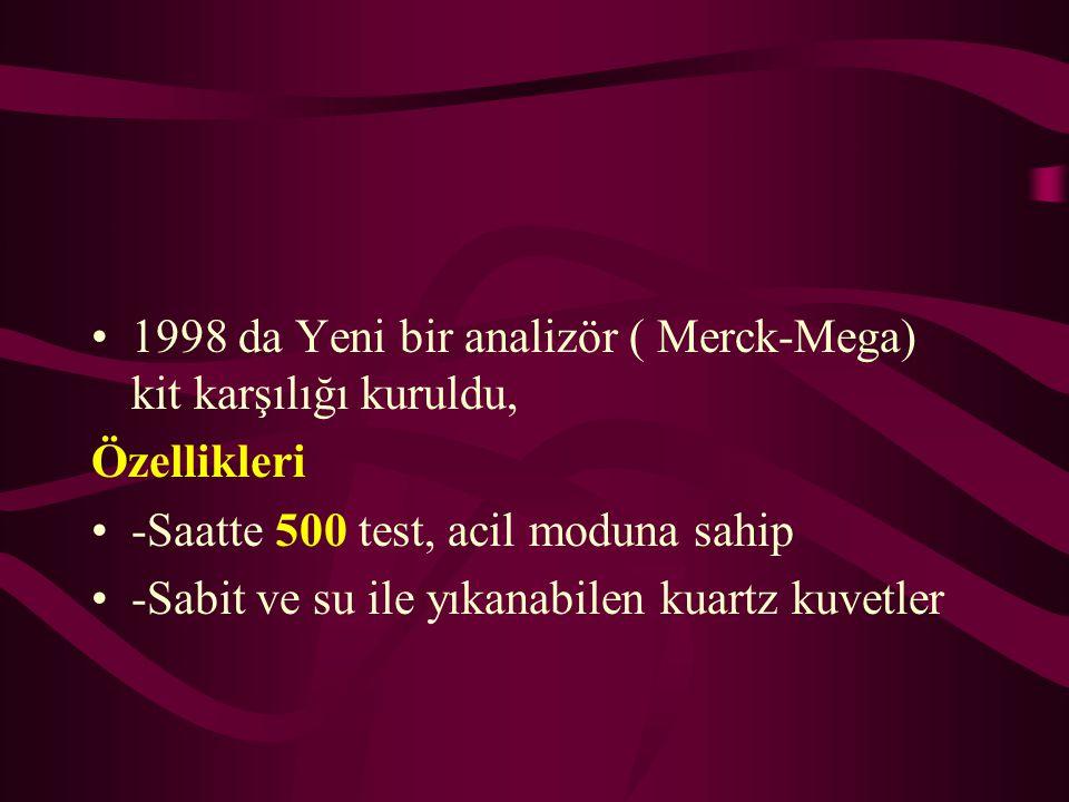 1998 da Yeni bir analizör ( Merck-Mega) kit karşılığı kuruldu, Özellikleri -Saatte 500 test, acil moduna sahip -Sabit ve su ile yıkanabilen kuartz kuv