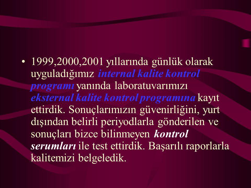 1999,2000,2001 yıllarında günlük olarak uyguladığımız internal kalite kontrol programı yanında laboratuvarımızı eksternal kalite kontrol programına ka