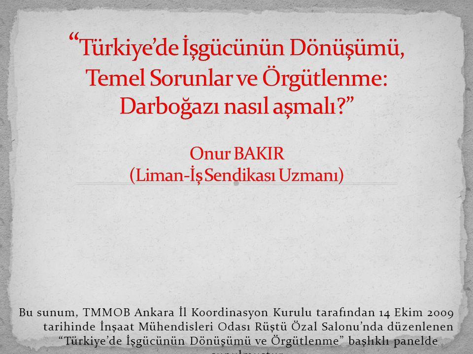 Bu sunum, TMMOB Ankara İl Koordinasyon Kurulu tarafından 14 Ekim 2009 tarihinde İnşaat Mühendisleri Odası Rüştü Özal Salonu'nda düzenlenen Türkiye'de İşgücünün Dönüşümü ve Örgütlenme başlıklı panelde sunulmuştur.