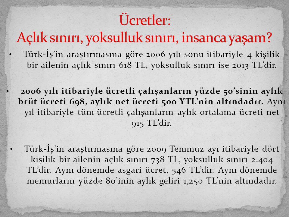 Türk-İş'in araştırmasına göre 2006 yılı sonu itibariyle 4 kişilik bir ailenin açlık sınırı 618 TL, yoksulluk sınırı ise 2013 TL'dir. 2006 yılı itibari
