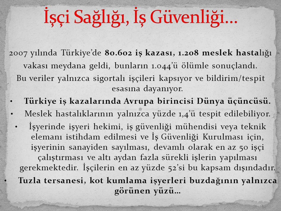 2007 yılında Türkiye'de 80.602 iş kazası, 1.208 meslek hastalığı vakası meydana geldi, bunların 1.044'ü ölümle sonuçlandı. Bu veriler yalnızca sigorta