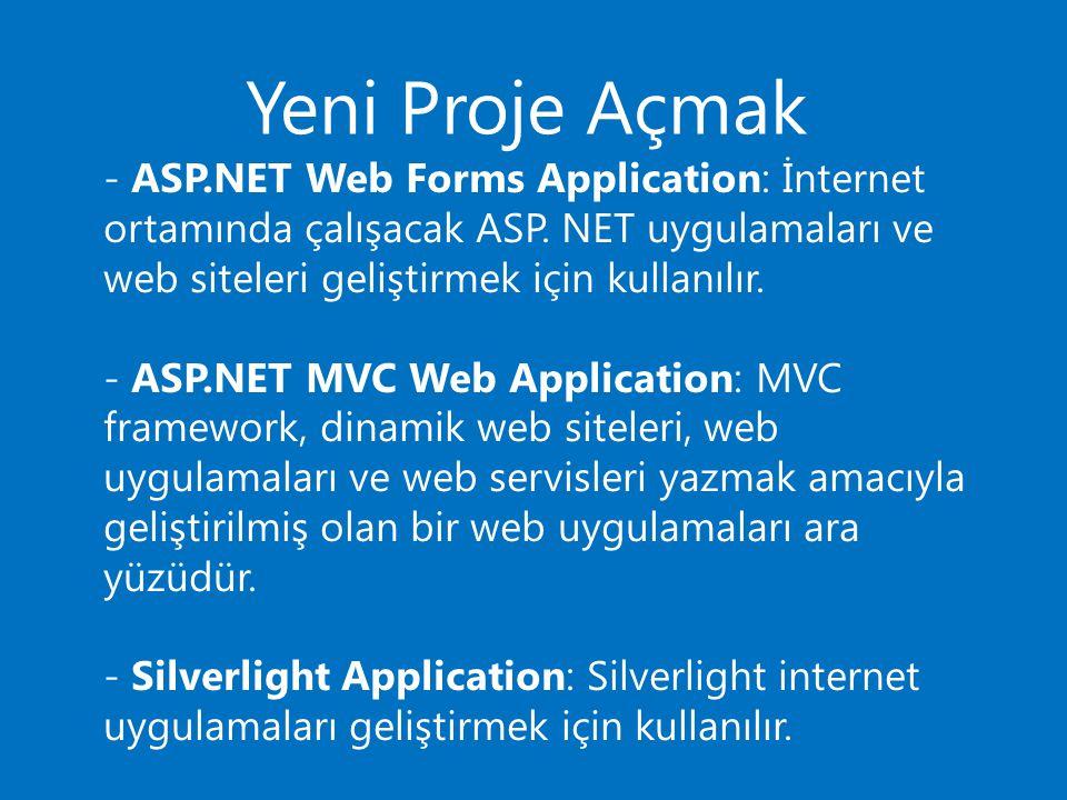 Yeni Proje Açmak - ASP.NET Web Forms Application: İnternet ortamında çalışacak ASP. NET uygulamaları ve web siteleri geliştirmek için kullanılır. - AS