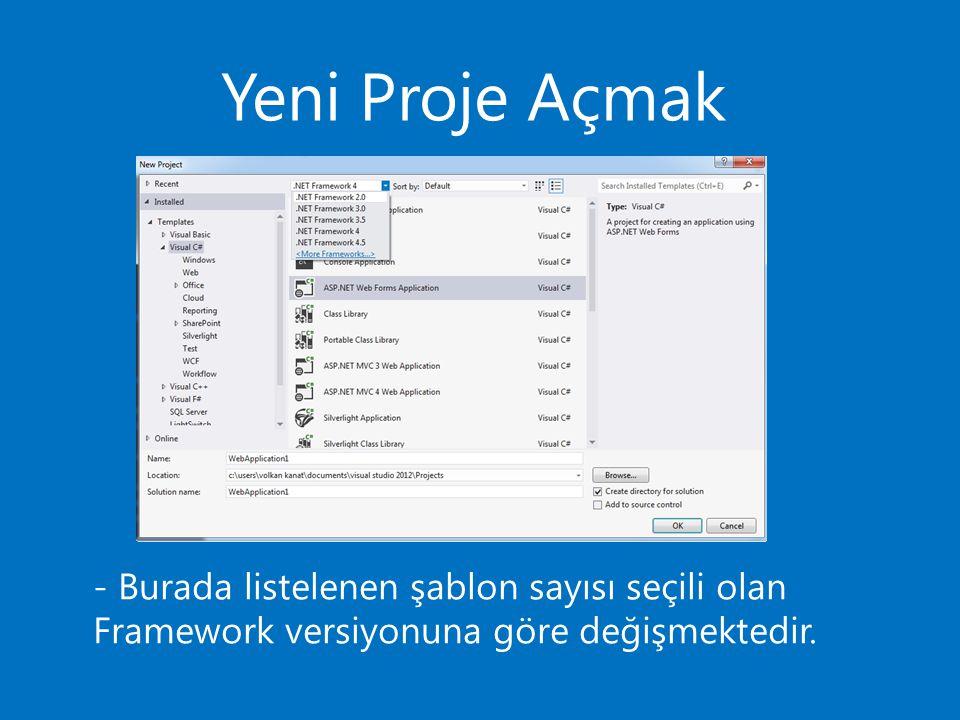 Uygulama Geliştirme - Öncelikle yeni bir proje açalım.