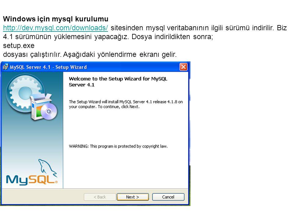 Windows için mysql kurulumu http://dev.mysql.com/downloads/http://dev.mysql.com/downloads/ sitesinden mysql veritabanının ilgili sürümü indirilir.