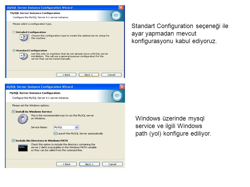 Standart Configuration seçeneği ile ayar yapmadan mevcut konfigurasyonu kabul ediyoruz. Windows üzerinde mysql service ve ilgili Windows path (yol) ko