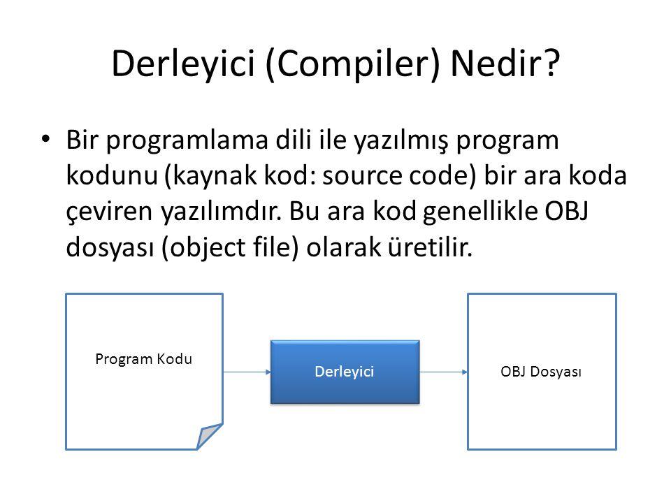 Derleyici (Compiler) Nedir? Bir programlama dili ile yazılmış program kodunu (kaynak kod: source code) bir ara koda çeviren yazılımdır. Bu ara kod gen