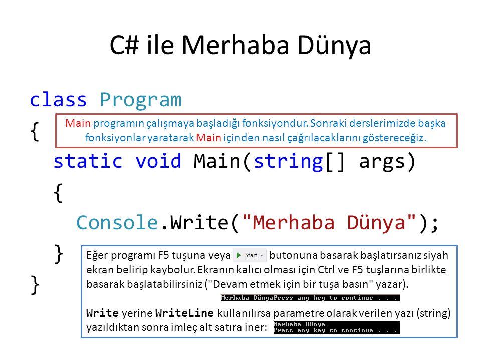 class Program { static void Main(string[] args) { Console.Write( Merhaba Dünya ); } C# ile Merhaba Dünya Eğer programı F5 tuşuna veya butonuna basarak başlatırsanız siyah ekran belirip kaybolur.
