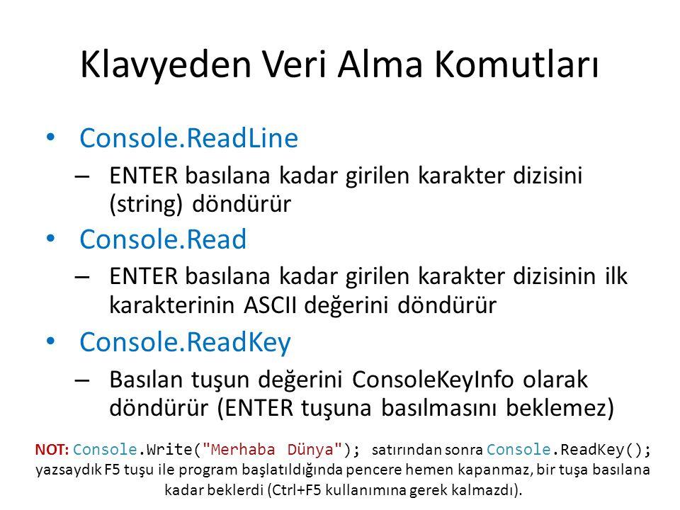 Klavyeden Veri Alma Komutları Console.ReadLine – ENTER basılana kadar girilen karakter dizisini (string) döndürür Console.Read – ENTER basılana kadar