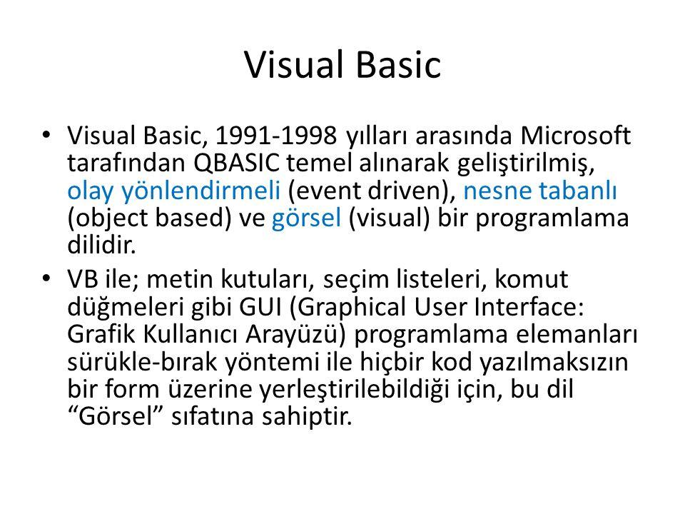 Visual Basic Visual Basic, 1991-1998 yılları arasında Microsoft tarafından QBASIC temel alınarak geliştirilmiş, olay yönlendirmeli (event driven), nes