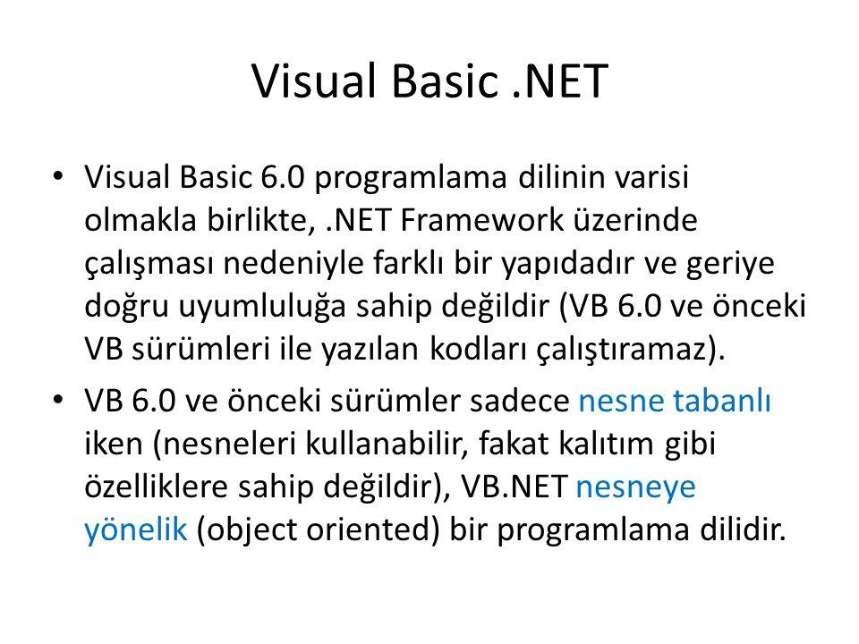 Visual Basic.NET Visual Basic 6.0 programlama dilinin varisi olmakla birlikte,.NET Framework üzerinde çalışması nedeniyle farklı bir yapıdadır ve geriye doğru uyumluluğa sahip değildir (VB 6.0 ve önceki VB sürümleri ile yazılan kodları çalıştıramaz).