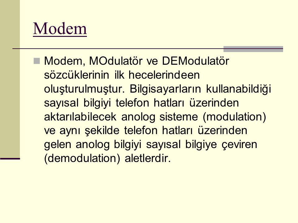 Modem Modem, MOdulatör ve DEModulatör sözcüklerinin ilk hecelerindeen oluşturulmuştur. Bilgisayarların kullanabildiği sayısal bilgiyi telefon hatları