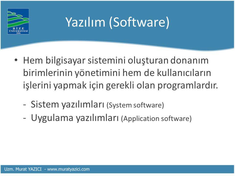 Yazılım (Software) Hem bilgisayar sistemini oluşturan donanım birimlerinin yönetimini hem de kullanıcıların işlerini yapmak için gerekli olan programl