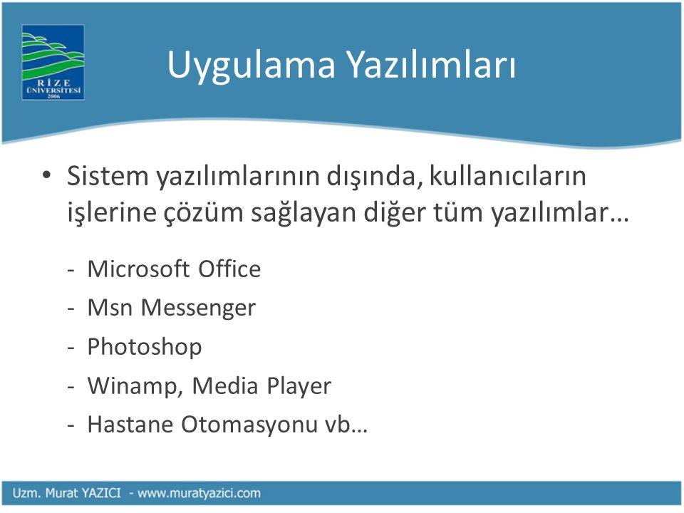 Uygulama Yazılımları Sistem yazılımlarının dışında, kullanıcıların işlerine çözüm sağlayan diğer tüm yazılımlar… - Microsoft Office - Msn Messenger -
