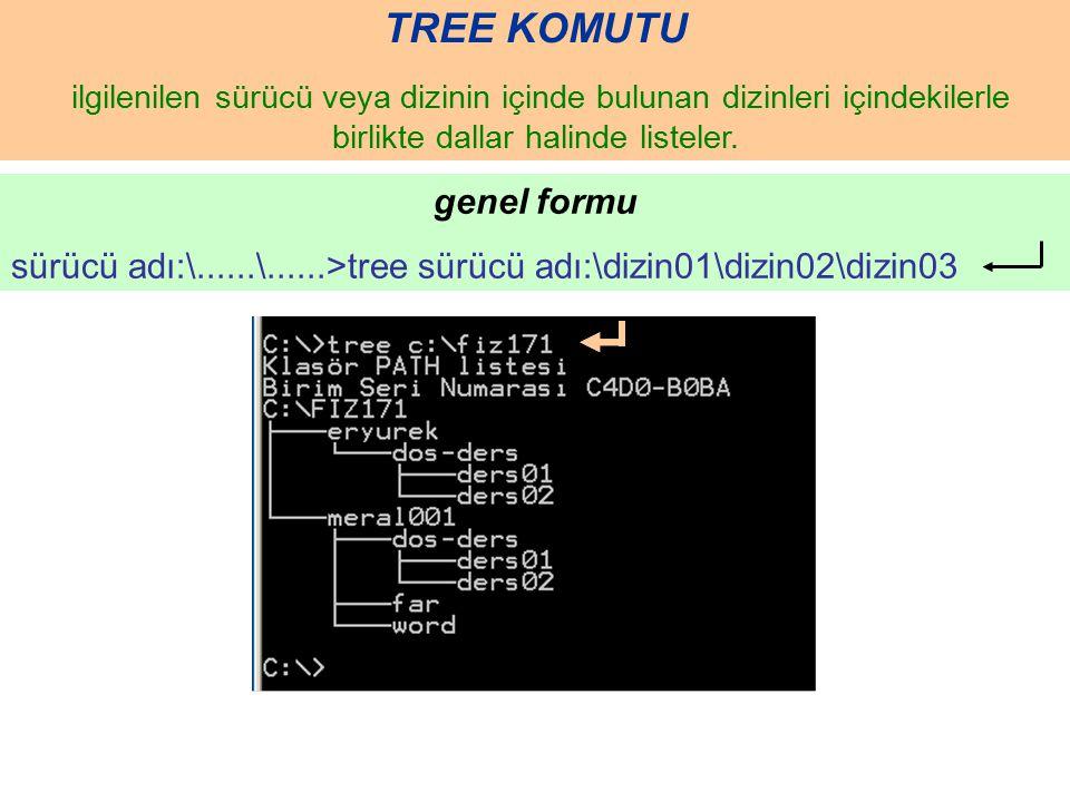 TREE KOMUTU ilgilenilen sürücü veya dizinin içinde bulunan dizinleri içindekilerle birlikte dallar halinde listeler. genel formu sürücü adı:\......\..