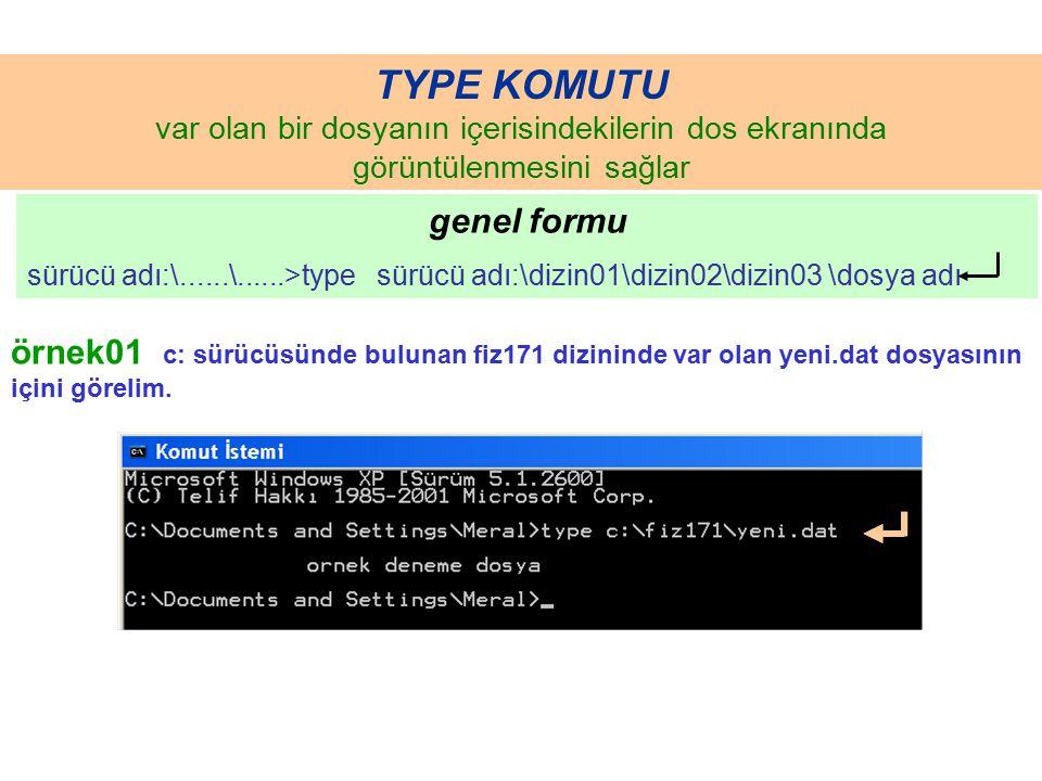 TYPE KOMUTU var olan bir dosyanın içerisindekilerin dos ekranında görüntülenmesini sağlar genel formu sürücü adı:\......\......>type sürücü adı:\dizin01\dizin02\dizin03 \dosya adı örnek01 c: sürücüsünde bulunan fiz171 dizininde var olan yeni.dat dosyasının içini görelim.