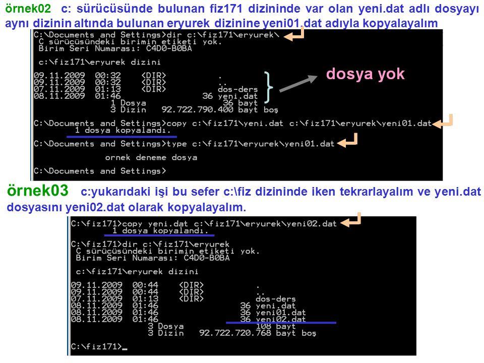 örnek02 c: sürücüsünde bulunan fiz171 dizininde var olan yeni.dat adlı dosyayı aynı dizinin altında bulunan eryurek dizinine yeni01.dat adıyla kopyala