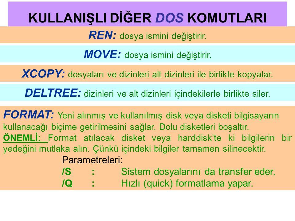 KULLANIŞLI DİĞER DOS KOMUTLARI REN: dosya ismini değiştirir. MOVE: dosya ismini değiştirir. XCOPY: dosyaları ve dizinleri alt dizinleri ile birlikte k