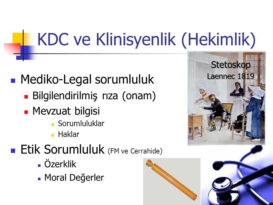 KDC ve Klinisyenlik (Hekimlik) Mediko-Legal sorumluluk Bilgilendirilmiş rıza (onam) Mevzuat bilgisi Sorumluluklar Haklar Etik Sorumluluk (FM ve Cerrah