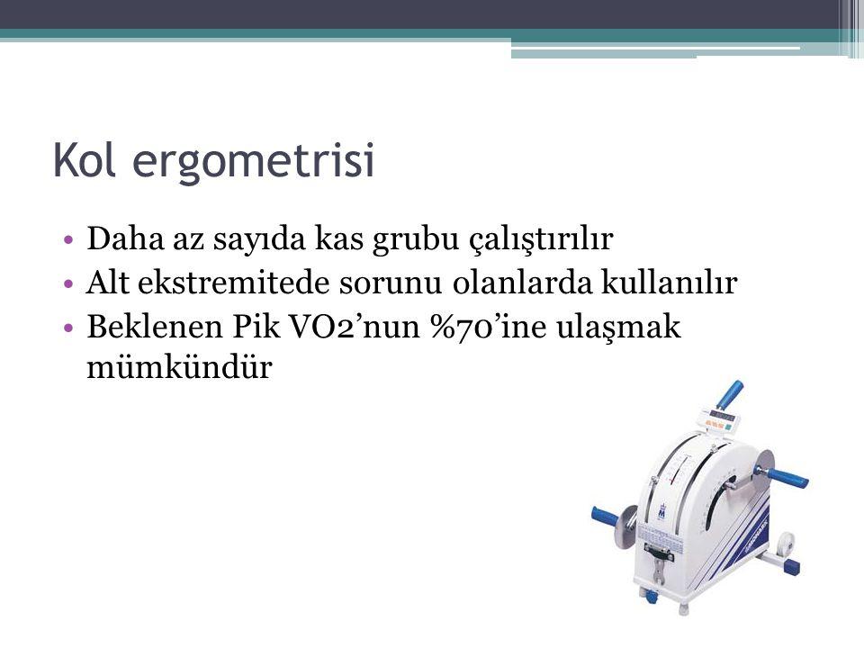 Kol ergometrisi Daha az sayıda kas grubu çalıştırılır Alt ekstremitede sorunu olanlarda kullanılır Beklenen Pik VO2'nun %70'ine ulaşmak mümkündür