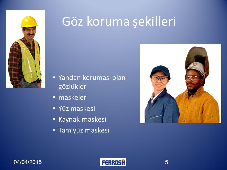 Göz koruma şekilleri Yandan koruması olan gözlükler maskeler Yüz maskesi Kaynak maskesi Tam yüz maskesi 04/04/20155