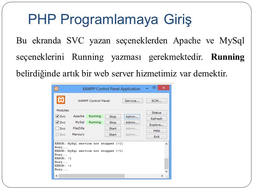 PHP Programlamaya Giriş Bu ekranda SVC yazan seçeneklerden Apache ve MySql seçeneklerini Running yazması gerekmektedir. Running belirdiğinde artık bir