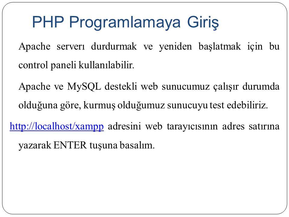 PHP Programlamaya Giriş Apache serverı durdurmak ve yeniden başlatmak için bu control paneli kullanılabilir. Apache ve MySQL destekli web sunucumuz ça