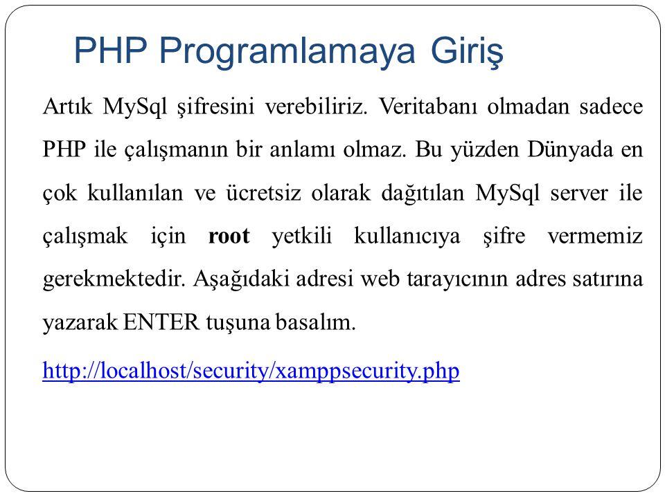 PHP Programlamaya Giriş Artık MySql şifresini verebiliriz. Veritabanı olmadan sadece PHP ile çalışmanın bir anlamı olmaz. Bu yüzden Dünyada en çok kul
