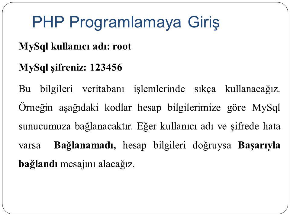 PHP Programlamaya Giriş MySql kullanıcı adı: root MySql şifreniz: 123456 Bu bilgileri veritabanı işlemlerinde sıkça kullanacağız. Örneğin aşağıdaki ko
