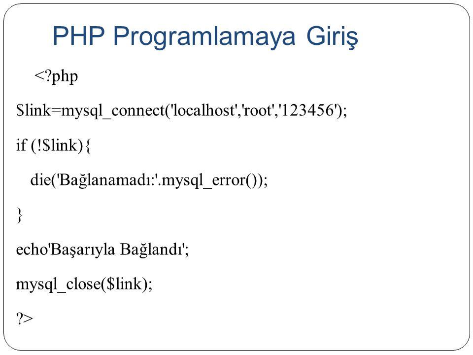 PHP Programlamaya Giriş <?php $link=mysql_connect('localhost','root','123456'); if (!$link){ die('Bağlanamadı:'.mysql_error()); } echo'Başarıyla Bağla