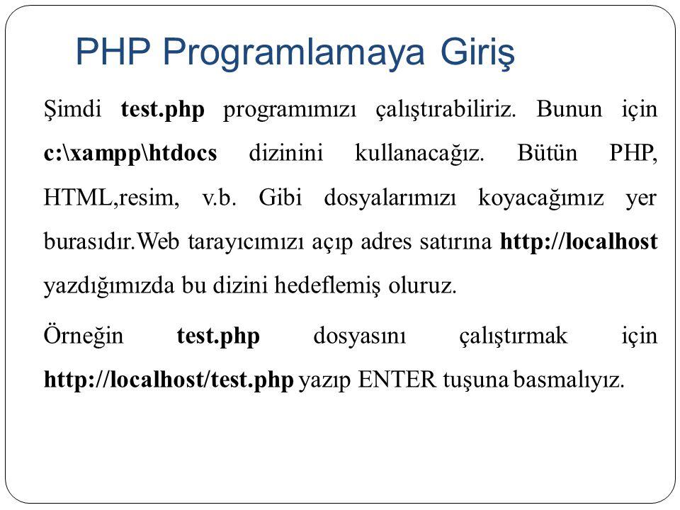 PHP Programlamaya Giriş Şimdi test.php programımızı çalıştırabiliriz. Bunun için c:\xampp\htdocs dizinini kullanacağız. Bütün PHP, HTML,resim, v.b. Gi