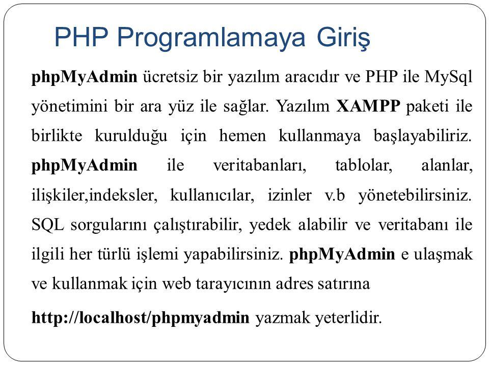 PHP Programlamaya Giriş phpMyAdmin ücretsiz bir yazılım aracıdır ve PHP ile MySql yönetimini bir ara yüz ile sağlar. Yazılım XAMPP paketi ile birlikte